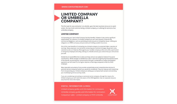 Limited Company or Umbrella Company